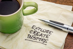 Explore, create, inspire on napkin. Explore, create, inspire - motivational words handwritten on a napkin with a cup of espresso coffee stock images