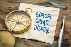 Explore, create, inspire word abstract on napkin royalty free stock photography