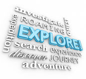 Explore 3d Word Collage Expedition Discovery Journey Stock Images