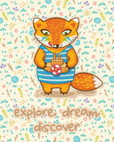 Explore dream discover. Cute card with little fox and ship. Stock Photos