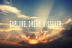 Explore, dream, discover. Inspirational travel quotes - Explore, dream, discover stock photo