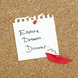 Explore Dream Discover Royalty Free Stock Photography