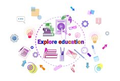 Explore Education Banner Online Study Elearning Concept. Vector Illustration Stock Images