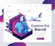 Explore el mundo, donde el viajar al extranjero se muestra concepto isométrico de las ilustraciones stock de ilustración