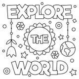 Explore el mundo Página que colorea Ilustración del vector Fotografía de archivo libre de regalías