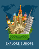 Explore Europe banner with famous attractions. Stock Images