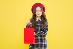 Explore fashion industry. Favorite brands and hottest trends. Girl with shopping bag. Shopping and purchase. Black. Friday. Sale discount. Shopping day. Child royalty free stock image
