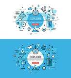 Explore. Flat line color hero images and hero banners design con Royalty Free Stock Photo