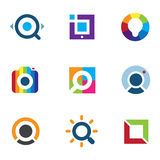 Explore fun colorful world social internet community network logo icon Royalty Free Stock Images