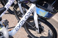 Explore Go Anywhere Bike Rentals Memphis. Explore Go Anywhere bike rentals, ready for rent at a public bike rental stand in Memphis, Tennessee Stock Images