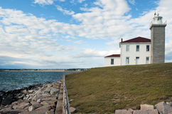 Explore Historic Watch Hill Light in Rhode Island Stock Photo