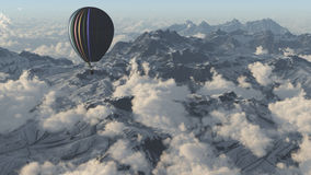 Explore with hot air balloon. Hot air balloon above the clouds and mountain-3D render Royalty Free Stock Photo