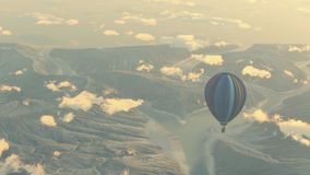 Explore with hot air balloon Stock Images