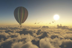 Explore with hot air balloon. Hot air balloon is flying above the clouds at  Sunrise-3D render Royalty Free Stock Photos