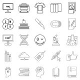 Explore icons set, outline style. Explore icons set. Outline set of 25 explore vector icons for web isolated on white background Royalty Free Stock Image