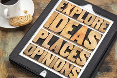 Explore ideas, places and opinions Royalty Free Stock Photo