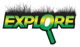 Explore la insignia gráfica del verde del texto Imágenes de archivo libres de regalías