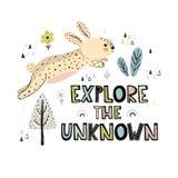 Explore la mano desconocida dibujada poniendo letras a la impresión libre illustration
