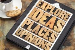 Explore las ideas, los lugares y las opiniones foto de archivo libre de regalías
