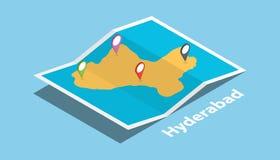Explore los mapas de Hyderabad con estilo isométrico y fije la etiqueta de la ubicación en el top ilustración del vector