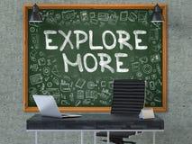 Explore mais - mão tirada no quadro verde 3d Imagem de Stock Royalty Free