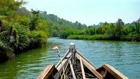 Explore mangrove forests of Chaung Tha resort, Myanmar. Canoe trip from Chaung Tha to explore unique nature of tidal mangrove forests on the banks of Kangy river stock footage