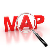 Explore map icon. Map 3d letters under the magnifier Royalty Free Stock Images