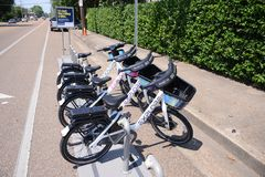 Explore Memphis Bike Rentals. Ready for rent at a public bike rental stand in Memphis, Tennessee Royalty Free Stock Photography