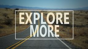 Explore more word with country road. Travel concept royalty free stock image