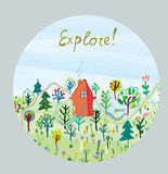 Explore nature card - round design. Of illustration Royalty Free Stock Image