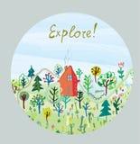 Explore nature card - round design Royalty Free Stock Image