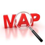 Explore o ícone do mapa ilustração stock