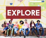 Explore o conceito de exploração da aventura do curso da experiência imagem de stock
