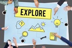Explore o conceito de Research Searching Study do explorador fotografia de stock royalty free