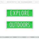 Explore. Outdoors. Signboard in style car license plate. Top view. Vector design elements royalty free illustration