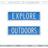 Explore. Outdoors. Vector design elements. Explore. Outdoors. Signboard in style car license plate. Top view. Vector design elements royalty free illustration