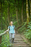 Explore the Outdoors - Woman in a Forest Stock Photo