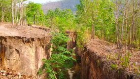 Pai land split, Thailand. Explore Pai land split - the crack in ground, located in mountains and formed by seismic activity and earthquakes, Thailand stock video
