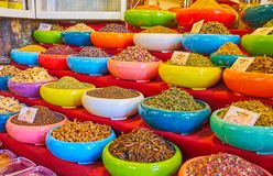 Explore Persian spice stores in Vakil Bazaar, Shiraz, Iran. Enjoy traditional spice stalls in Vakil Bazaar with many aroma herbs, spices, tea species, dried royalty free stock photo