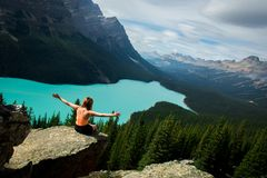 Explore Peyto Lake, Rocky Mountains, Banff National Park, Canada royalty free stock images