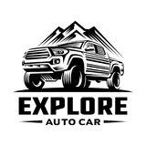Explore pick up car logo template. Labels and design elements. Vector illustration Royalty Free Stock Photography