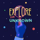 Explore slogan and space illustration . A hand with a magnifying glass. royalty free illustration