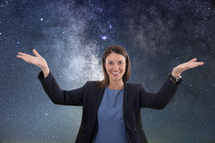 Explore space. Woman Explore space. royalty free stock photography
