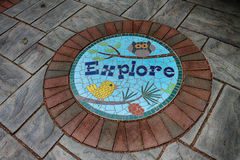 Explore. A Stepping stone in the storybook gardens Royalty Free Stock Images