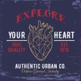 Explore su corazón Impresión para las camisas Fotografía de archivo libre de regalías