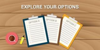 Explore su opción del problema de negocio de opciones Foto de archivo
