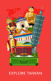 Explore Taiwan banner with famous attractions Royalty Free Stock Photo