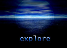 Explore Text on Bright Blue Distant Horizon. Beautiful Background Royalty Free Stock Photography