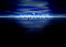 Explore Text on Bright Blue Horizon. Explore Text on Bright Blue Distant Horizon Beautiful Background Royalty Free Stock Photos
