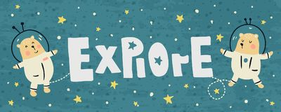 Explore. Vector banner with cute bears and explore text Stock Image
